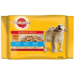 Mars PEDIGREE kapsička dog JUNIOR Multipack kuracie mäso & ryža v želé, hovädzie mäso & ryža v želé 4 x 100 g