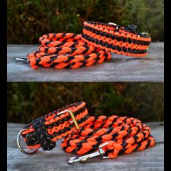 Reflexný set vodítko+obojok - oranžový