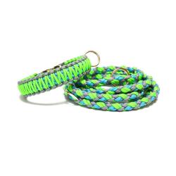 Obojok pre psa - trojfarebný zelený