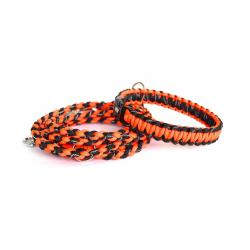 Set vodítko+obojok - oranžovo-čierny reflexný