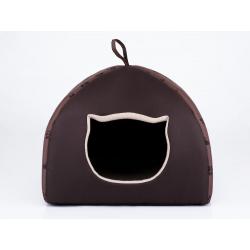 Pelech pre mačku Igloo - svetlohnedý s labkami