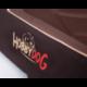 Okrúhly pelech pre psa hnedý s nápismi